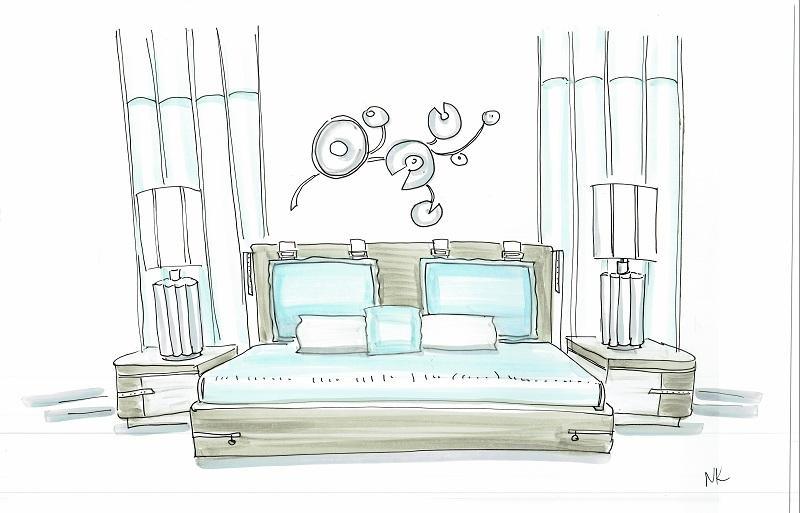 Скетч спальни со светильниками на прикроватных тумбочках