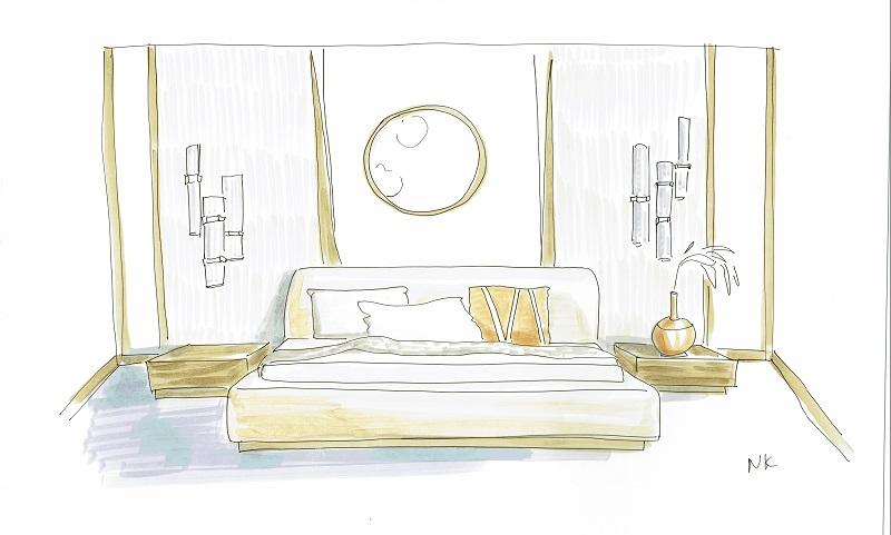 Скетч спальни в неоклассическом стиле