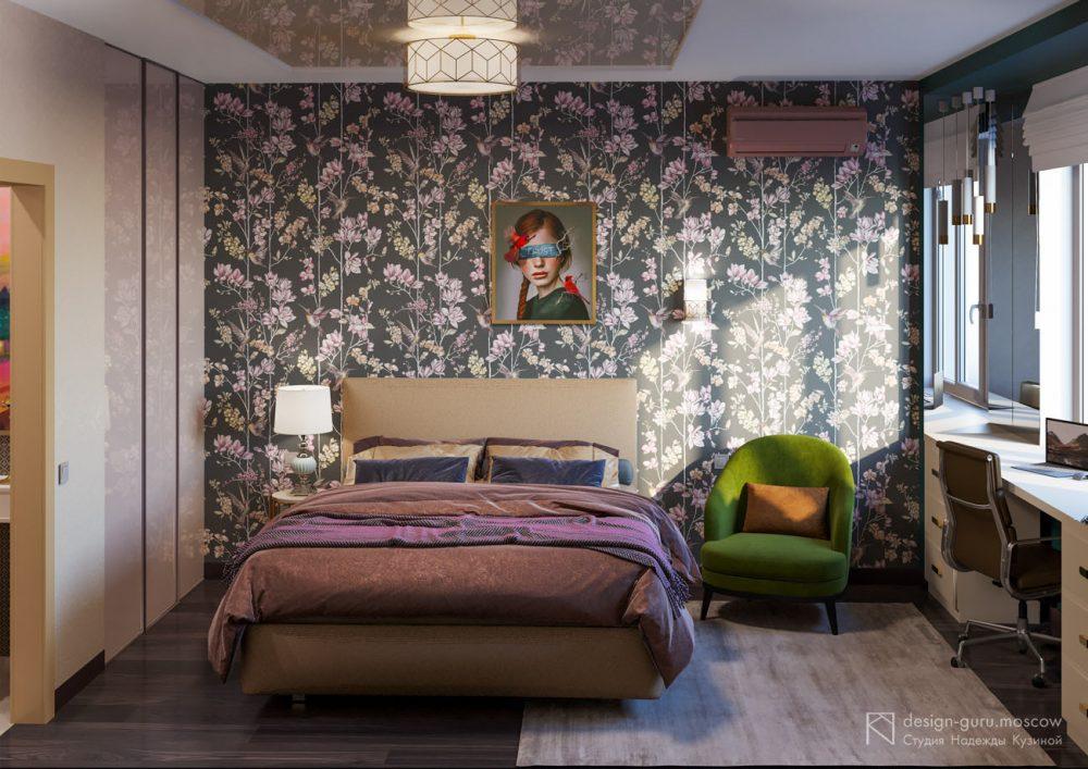 Современный дизайн спальни в коричневых тонах