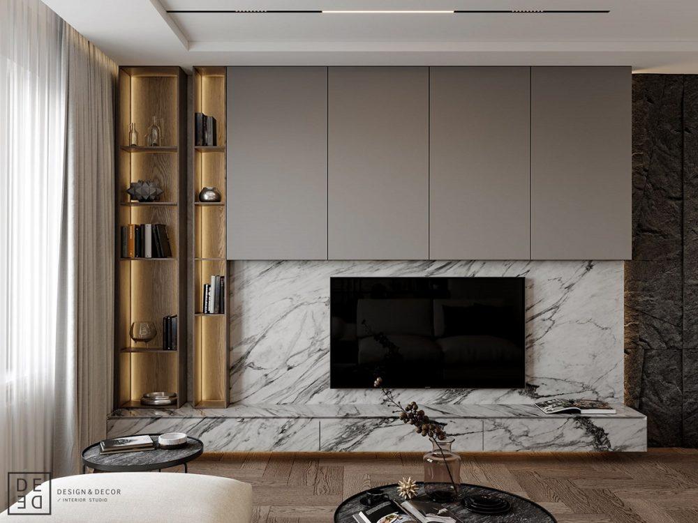 Использование мрамора на стене в гостиной