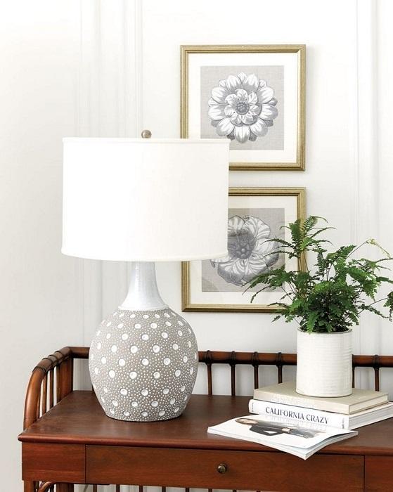 Настольная лампа и комнатное растение