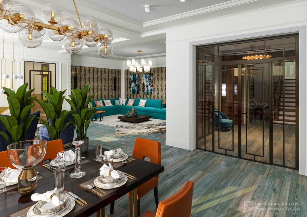 Дизайн интерьера гостиной в загородном доме, совмещенной со столовой