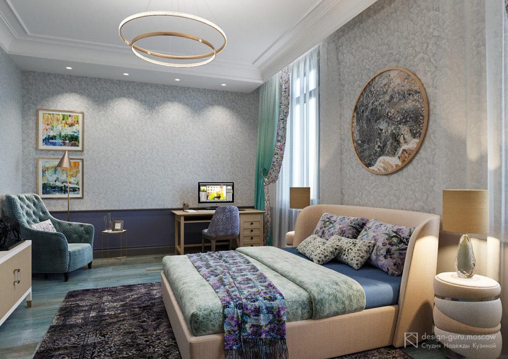 Дизайн интерьера спальни в стиле контемпорари