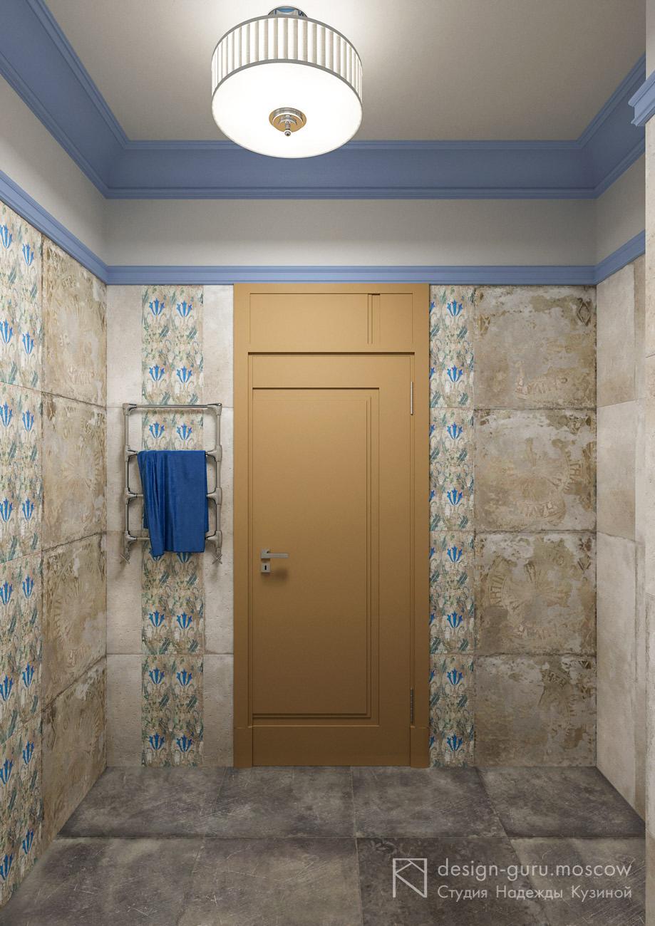 Использование различных видов керамической плитки в интерьере постирочной комнаты в частном доме