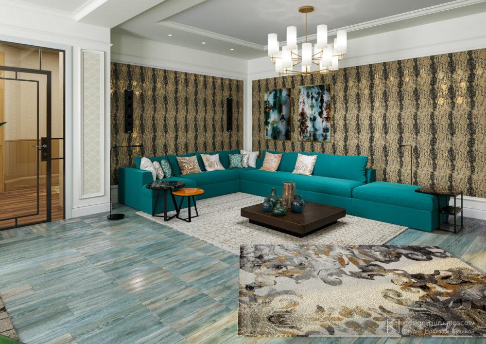 Дизайн интерьера гостиной с большим угловым диваном