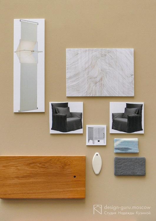 Пример муд-борда интерьера с набором отделок и примерами мебели