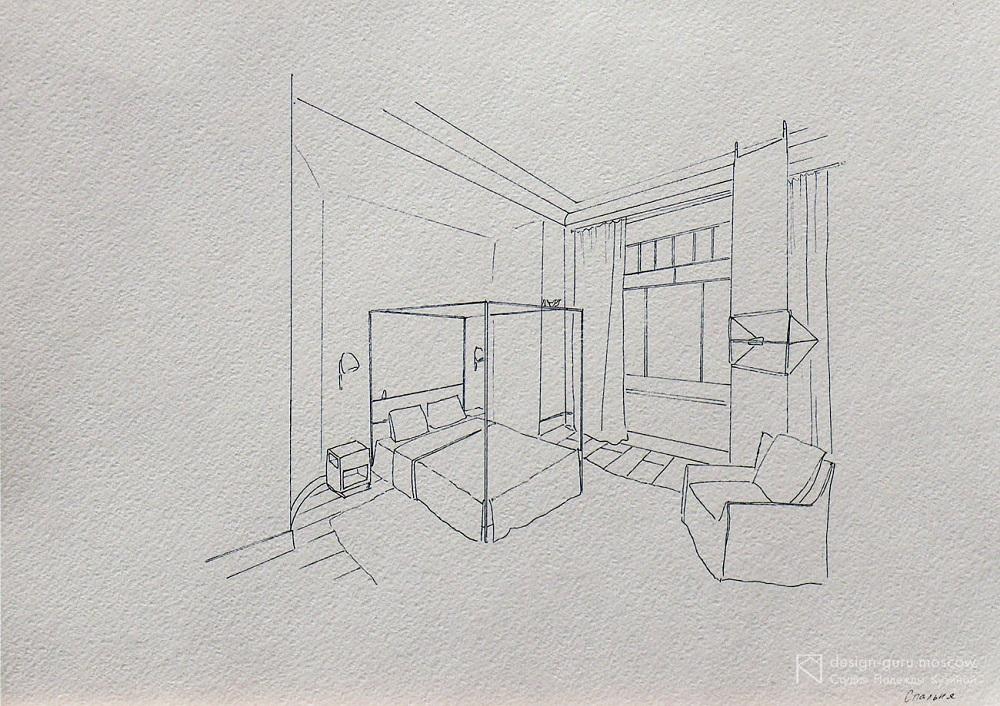 Набросок интерьера спальни от руки