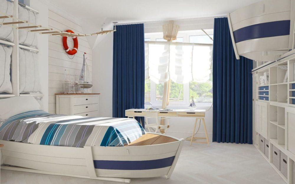 Интерьер детской комнаты с морской тематикой
