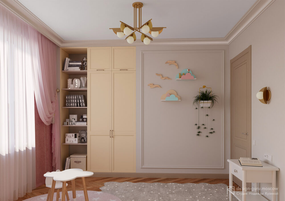Дизайн мест хранения в детской комнате