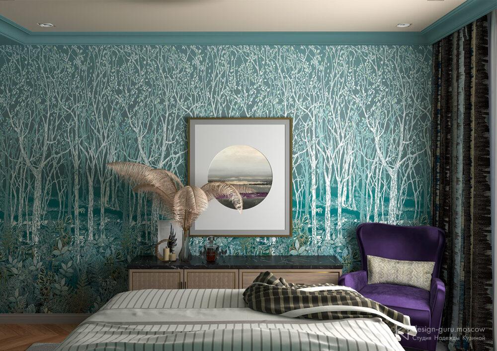 Использование предмета искусства в спальне вместо телевизора