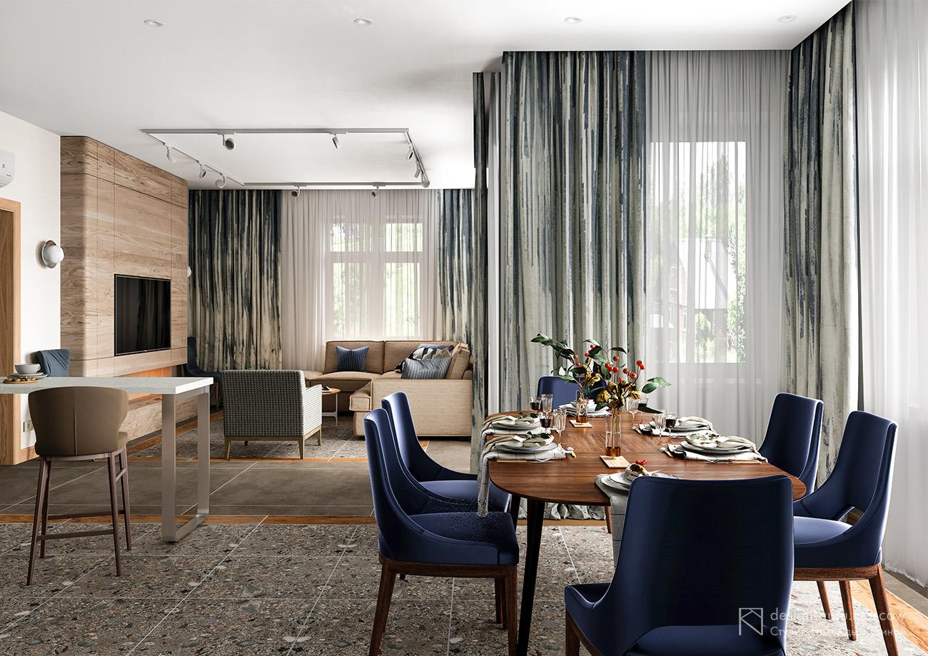 Гостиная и столовая в загородном доме