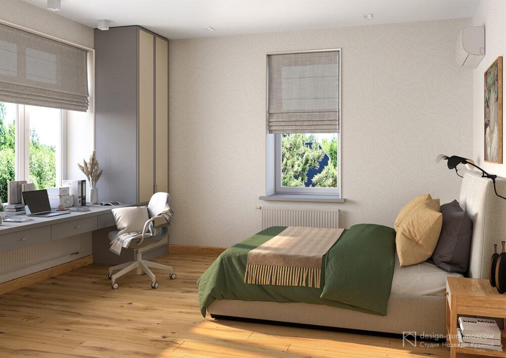 Дизайн спальни с рабочим местом